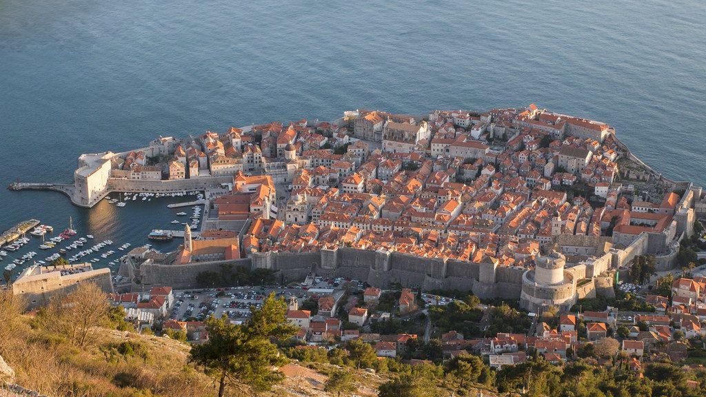 Vue aerienne sur la vielle ville de Dubrovnik en Croatie